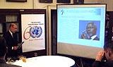 Директор Информационного центра ООН в Москве Александр Горелик открывает брифинг. Фото Игоря Сида, журнал